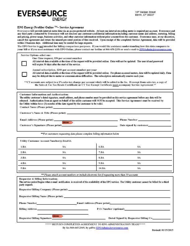 Eversource Energy Interval Data Form Nstar Alternative