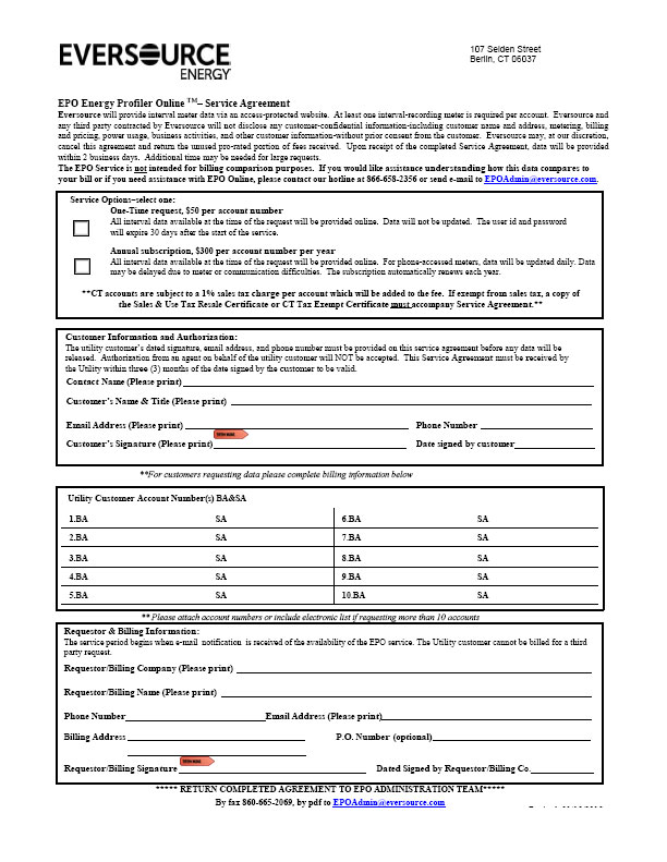 Eversource Energy Interval Data Form – CL&P and WMECO - Alternative ...