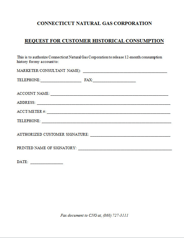 Connecticut Natural Gas Request Form Alternative Utility