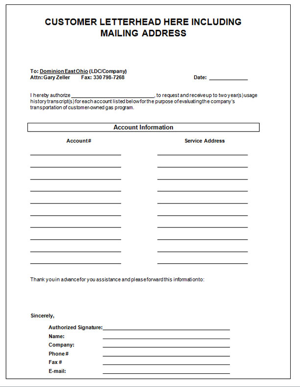 Dominion east ohio letter of authorization alternative for Domon power release